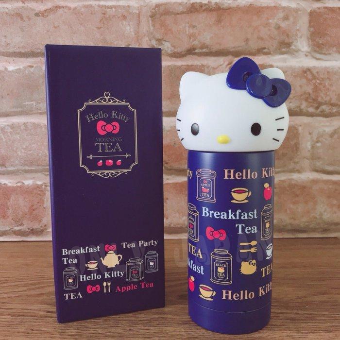 【真愛日本】18031600004 立體頭形不鏽鋼瓶230ML-午茶藍 kitty 凱蒂貓 304不鏽鋼 保溫水壺
