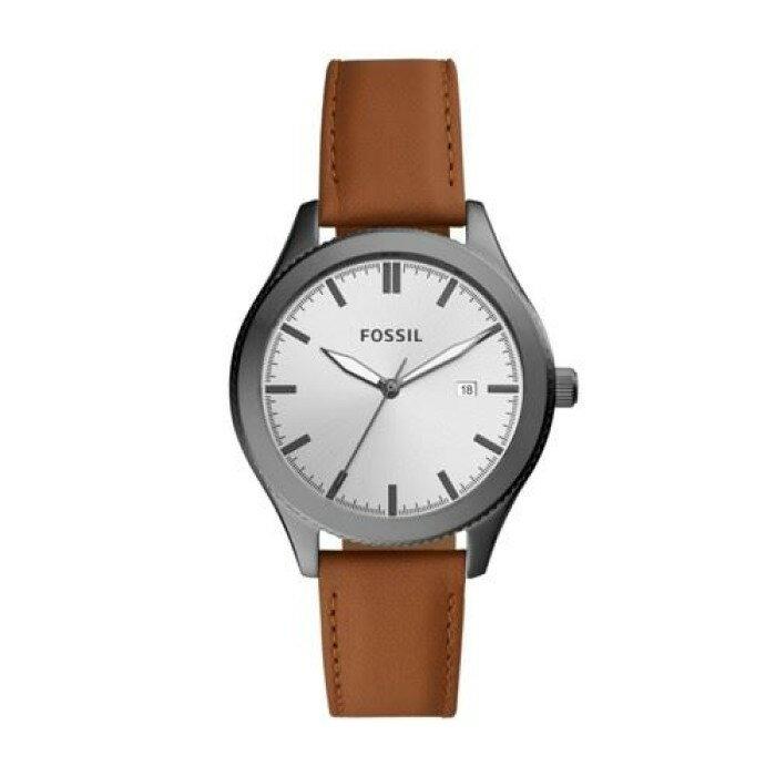 FOSSIL 40mm 男錶女錶 手錶 鐵灰色錶框 駝色真皮錶帶 男錶女錶 手錶 腕錶 BQ3345 (現貨)