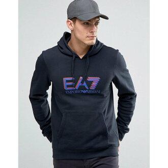 美國百分百【全新真品】Emporio Armani 長袖 連帽 T恤 EA7 運動 帽T 棉質 深藍 S號 H800