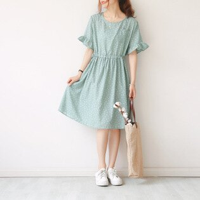 韓系日系女裝印花圓領單口袋繫帶收腰A字裙連身裙樂天時尚館。預購。[全店免運]