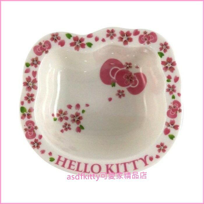 asdfkitty可愛家☆KITTY臉型櫻花陶瓷小湯碗/點心碗-47642-可微波-可用洗碗機-日本製