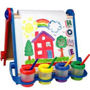 【美國ALEX】折疊式兒童專用畫架 加贈:Alex點點粉筆+歡樂洗澡蠟筆+Poof粉彩胖胖粉筆