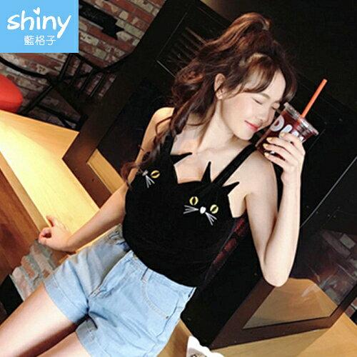 【V2253】shiny藍格子-涼夏美艷.貓咪刺繡吊帶絲絨背心