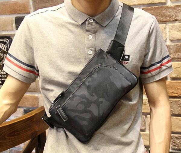 FINDSENSEZ1韓國時尚潮男牛津皮迷彩尼綸多功能休閒小腰包小胸包手機包單肩包