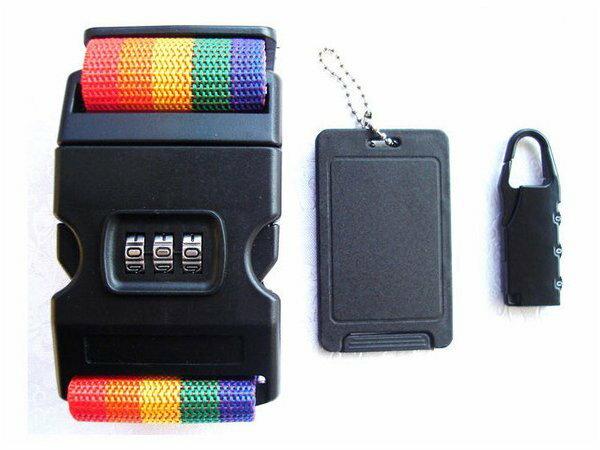 BO雜貨~SV6170~旅行行李牌 密碼鎖 彩虹行李箱密碼鎖束帶 三件套 登機箱密碼鎖 行