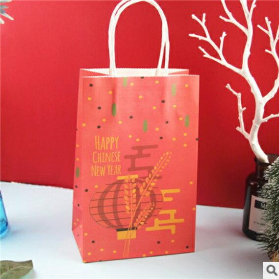 【嚴選SHOP】新年小尺寸紙袋 年節包裝 手提紙袋 賀年禮物袋 紙袋 交換禮物 農曆新年袋 包裝袋 伴手禮袋【X084】