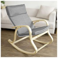 Haotian FST15-DG, Relax Rocking Chair, Lounge Chair Relax Chair with Cotton Fabric Cushion