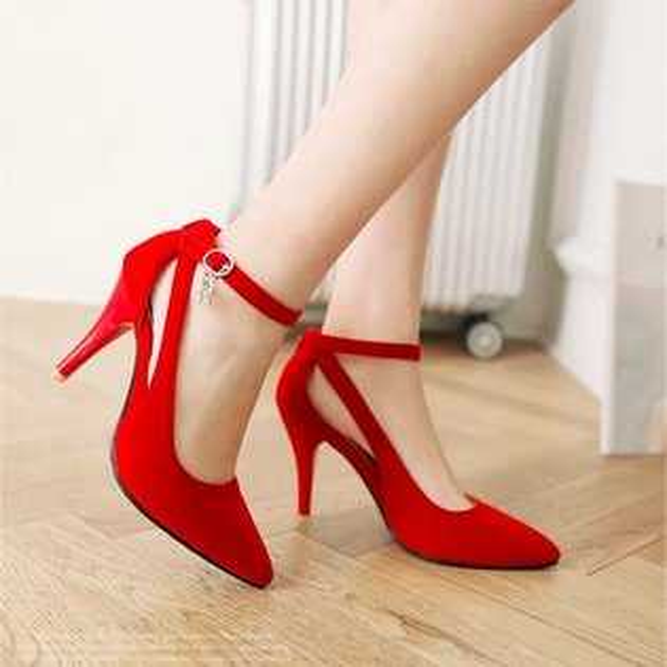 Pyf♥歐美瘦腿顯瘦夜店性感百搭簍空繞踝帶尖頭細跟涼鞋加大52大尺碼女鞋