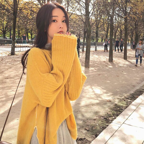 PS Mall 韓版寬鬆套頭慵懶馬海毛衣 上衣 【T1901】 - 限時優惠好康折扣