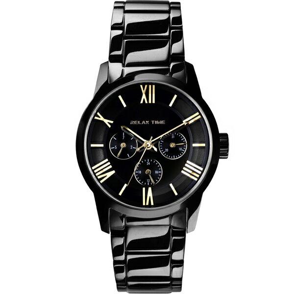 Relax Time RT-65-1L 對錶系列黑金時尚腕錶/黑面(小)38mm