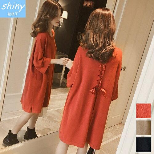 shiny藍格子:【V2059】shiny藍格子-甜美恬靜.後綁帶蝴蝶結中長袖連身裙
