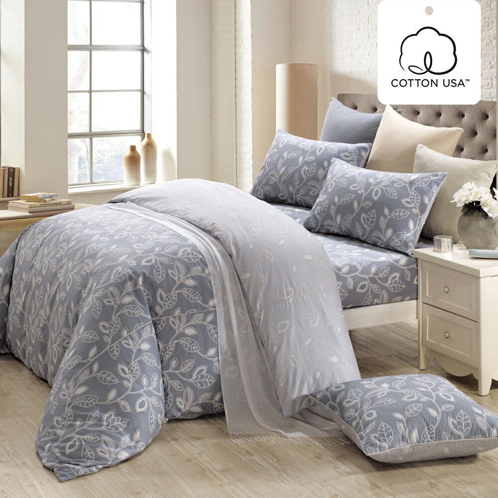 床包被套組 四件式雙人兩用被床包組/奧德曼灰/美國棉授權品牌[鴻宇]台灣製2013