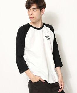 7分袖印花T恤BWHITE×BLACK
