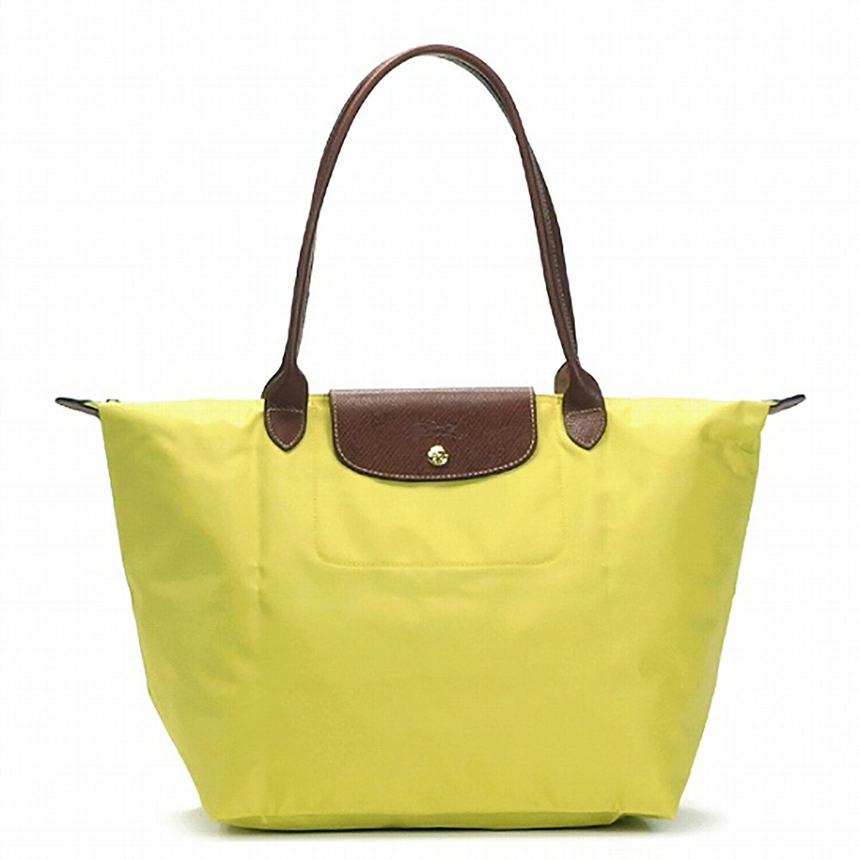 [長柄M號]國外Outlet代購正品 法國巴黎 Longchamp [1899-M號] 長柄 購物袋防水尼龍手提肩背水餃包 檸檬黃 0