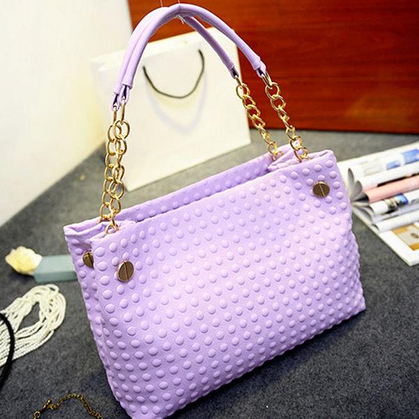 韓版新款 馬卡龍泡泡壓紋 鍊條手提包 肩背包G0071 ◆ 雅韓時尚館