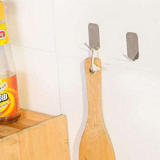 ♚MY COLOR♚不鏽鋼加厚強力掛鉤(四入) 廚房 衛浴 懸掛 黏貼 壁掛 裝飾 收納 門背 櫥櫃【J107-1】