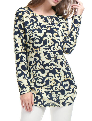 Unique Bargains Women Printed Tunic Knitted Top Beige-Novelty L (US 14) 42757fdac044a2353b68174579a1203b