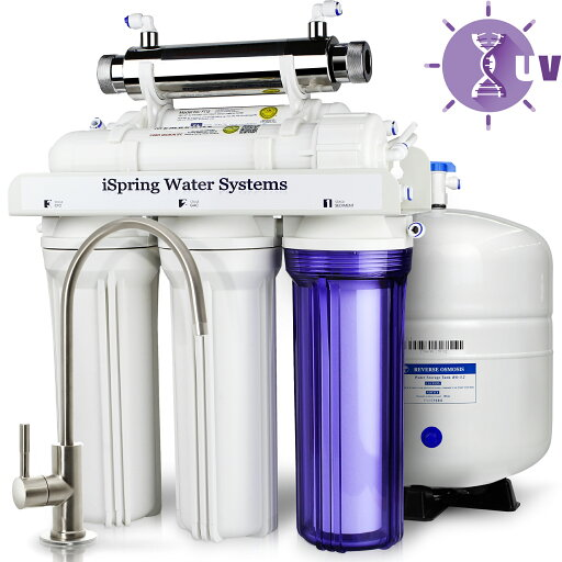 6-Present 75 GPD UV Ultra Violet Reverse Osmosis RO Water System with luxury faucet - iSpring - RCC7U