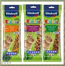 【菲藍家居】德國Vitakraft VITA -兔子棒棒糖 磨牙棒,鮮香蔬菜、綜合野莓、香純蜂蜜,2支裝