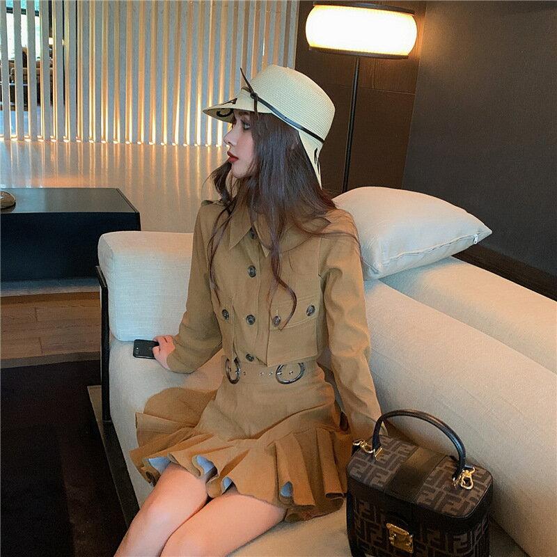 女裝2021新款名媛時尚長袖工裝口袋復古港味時尚套裝