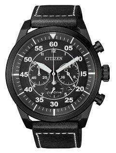 CITIZEN星辰錶CA4215-21H三眼時尚光動能飛行計時腕錶黑面45mm