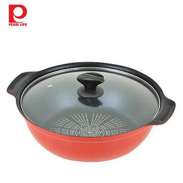 【日本珍珠金屬】藍鑽塗層不沾火鍋(附鍋蓋)-紅色28cm