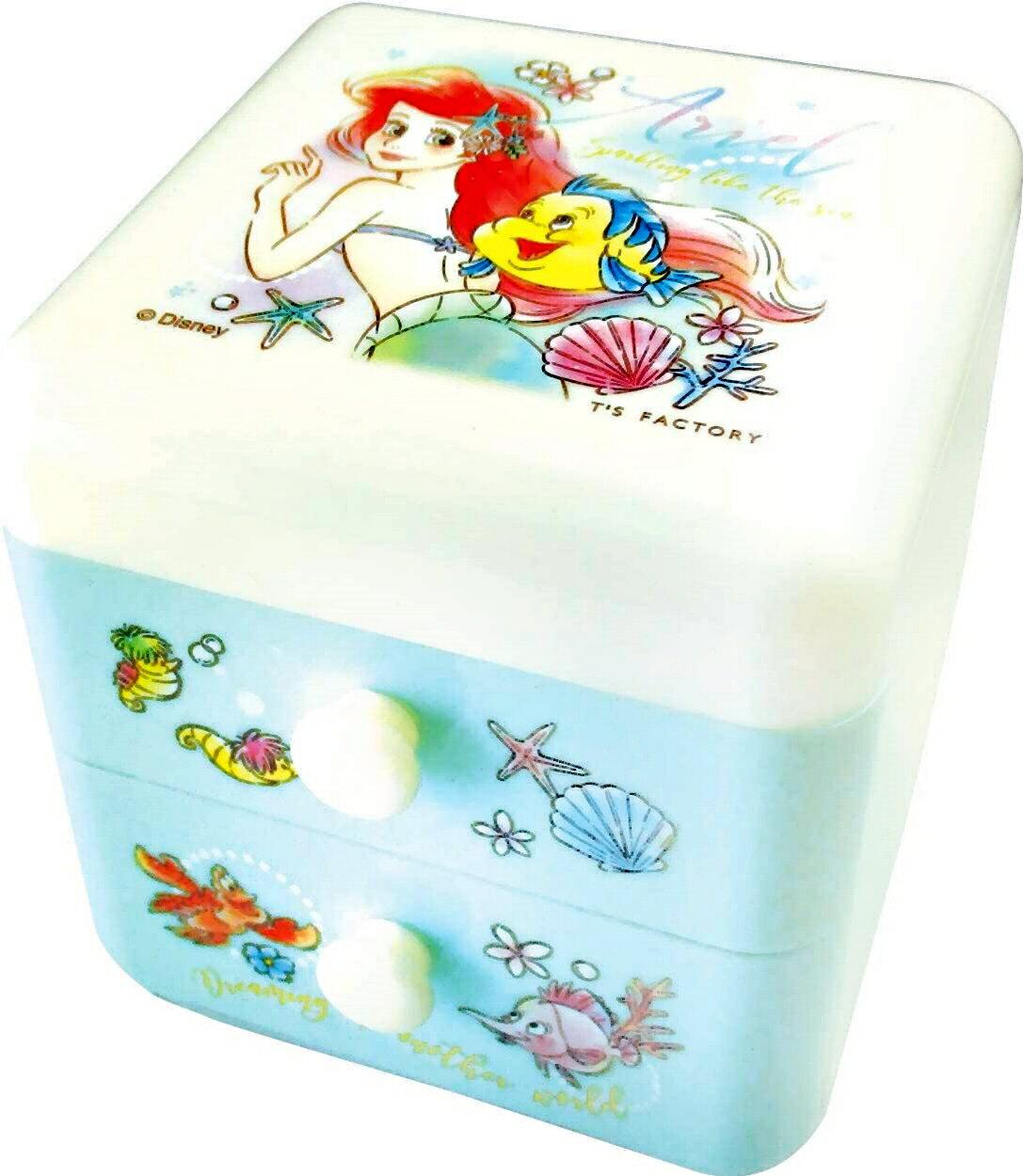 小美人魚Ariel 雙層抽屜櫃,置物盒 / 收納盒 / 抽屜收納盒 / 筆筒 / 桌上收納盒,X射線【C107087】 0