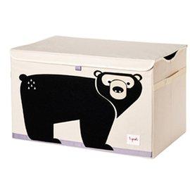 【淘氣寶寶】加拿大 3 Sprouts 大型玩具收納箱-黑熊【超大容量造型玩具箱,可摺疊收納,加蓋防塵】【保證公司貨】