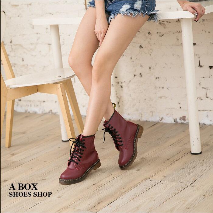 格子舖*【AA601-1G】專櫃雜誌款日系8孔真皮超耐磨牛津透明底馬汀靴 馬丁鞋 情侶鞋 5色 1