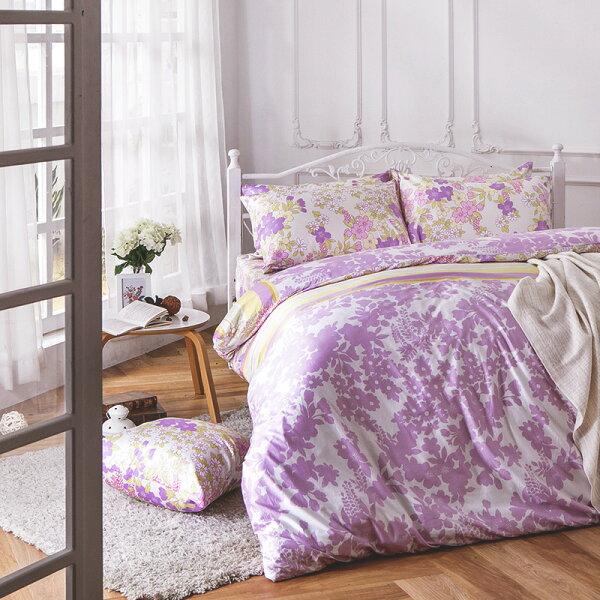 床包被套組雙人-100%精梳棉【AP迷草醉月-粉】60支精梳棉,含兩件枕套,戀家小舖,台灣製