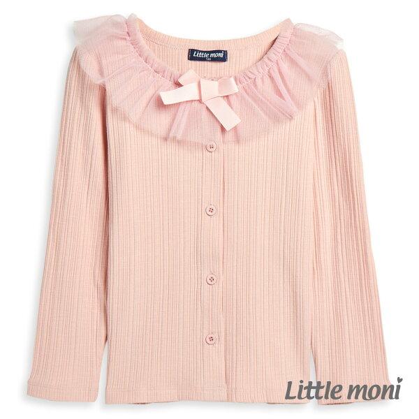 Littlemoni甜美網紗領邊外套-粉紅