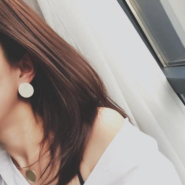 PS Mall 日 風 圓片圓形弧形光面金屬簡約百搭耳釘耳環飾品~G2287~