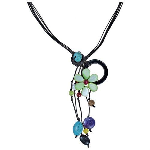 Pretty Drop Cluster Multi-Stone Green Flower Pendant-Necklace 2