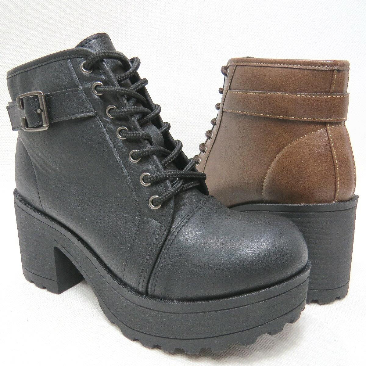 ^~^~高跟馬丁靴復古粗跟短靴厚底防水臺女靴 23~612^(咖  黑^)^~^~彩虹屋^