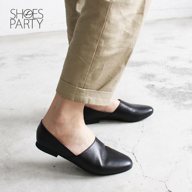【C2-18805L】雙色拼接真皮平底便鞋_Shoes Party 1