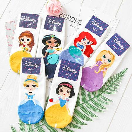 韓國 正版 迪士尼公主系列短襪 迪士尼 公主 短襪 船襪 襪子 造型襪 流行襪 Disney【N102236】