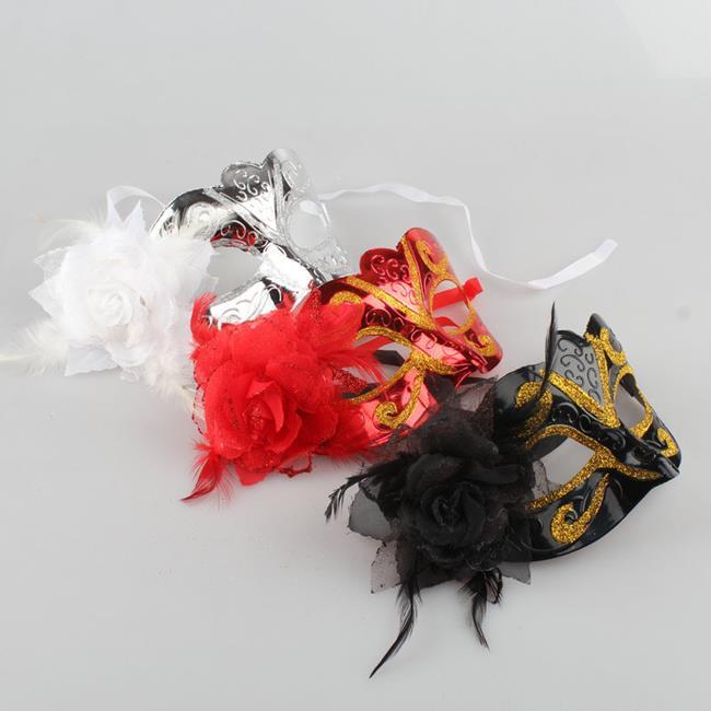 威尼斯 側面帶花 ( 亮曲面 ) 半臉面紗 彎曲面具/眼罩/面罩 cosplay 表演 舞會 派對 整人【塔克】