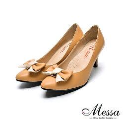 【Messa米莎專櫃女鞋】MIT蝴蝶綁帶女孩內真皮高跟鞋-棕色