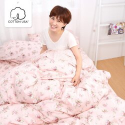 被套床包組 雙人加大-精梳棉薄被套床包組/春漾庭園/美國棉授權品牌[鴻宇]台灣製-1516粉