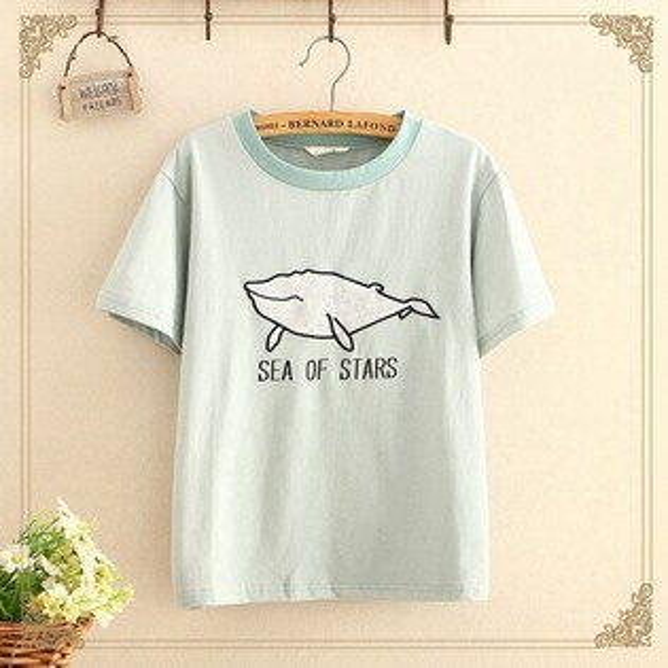 梅梅露*【55182089】悠閒鯨魚短袖T恤上衣