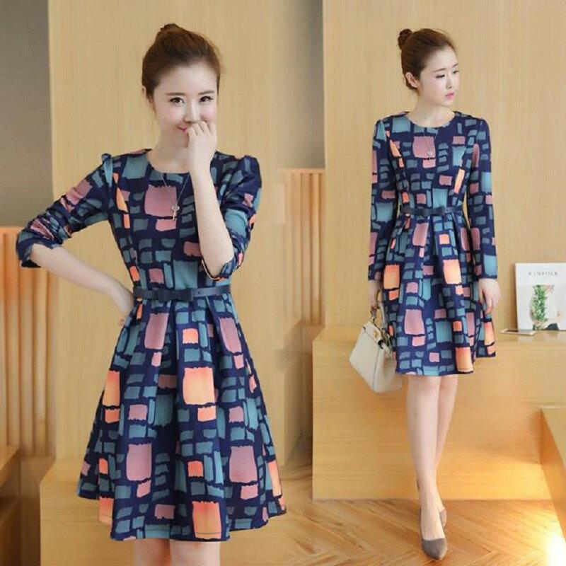 暖冬韓版格子顯瘦洋裝