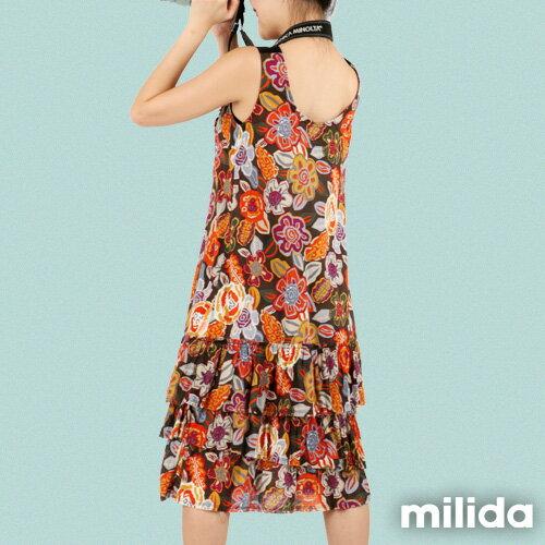【Milida,全店七折免運】-夏季商品-無袖款-長版百摺洋裝 3