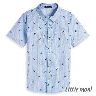 Little moni 涼夏渡假開襟襯衫-道奇藍