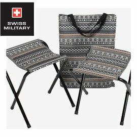 【【蘋果戶外】】SWISS MILITARY S6T3C001GR 彩繪民族風小板凳2入(藍灰) 摺疊椅 摺疊小板凳