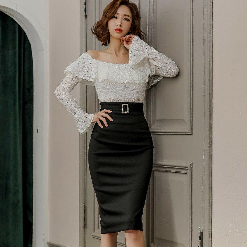 新款兩件套2021韓版氣質修身一字領蕾絲上衣時尚包臀裙套裝