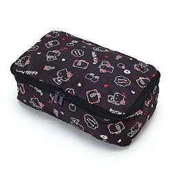 X射線【C186251】Hello Kitty 旅用收納箱S(黑),美妝小物包/筆袋/面紙包/化妝包/零錢包/收納包/皮夾/手機袋/鑰匙包
