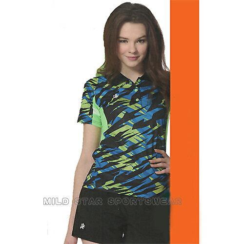 avalok 運動休閒服飾:MILDSTAR女版吸濕排汗印花圖騰短POLO衫-藍綠#LS801388