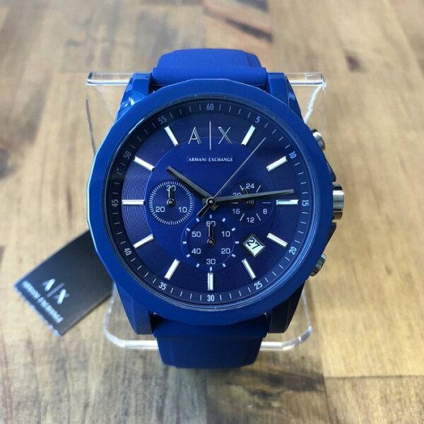 美國百分百【ArmaniExchange】AX手錶腕錶三眼阿曼尼不鏽鋼AX1327橡膠錶帶寶藍I817