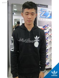 『Mossback』ADIDAS STR GRAPH FZ 棉質 連帽 外套 刷毛 黑色(男)NO:AB8030