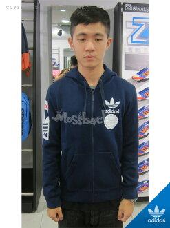『Mossback』ADIDAS STR GRAPH FZ 棉質 連帽 外套 刷毛 深藍(男)NO:AB8031